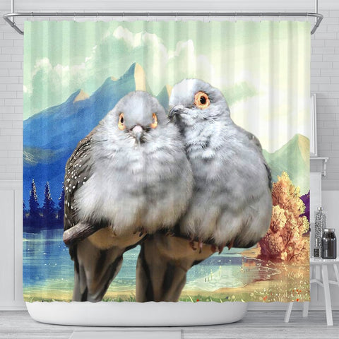 Diamond Dove Bird Print Shower Curtains-Free Shipping