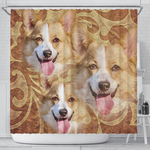 Cute Pembroke Welsh Corgi Print Shower Curtains-Free Shipping