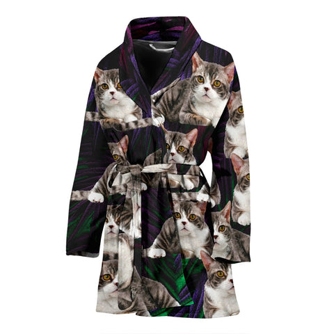 American Wirehair Cat Print Women's Bath Robe-Free Shipping