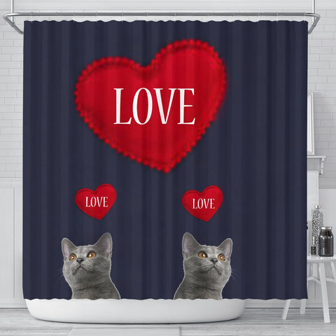Chartreux Cat Love Print Shower Curtain-Free Shipping