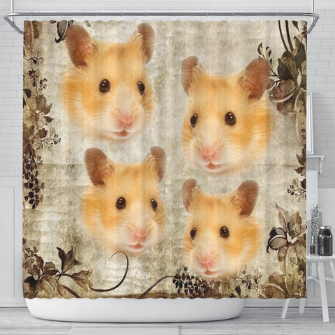 Lovely Golden Hamster Print Shower Curtains-Free Shipping