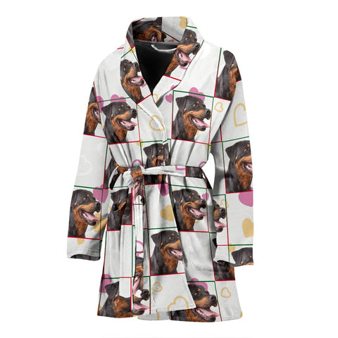 Rottweiler Dog Patterns Print Women's Bath Robe-Free Shipping