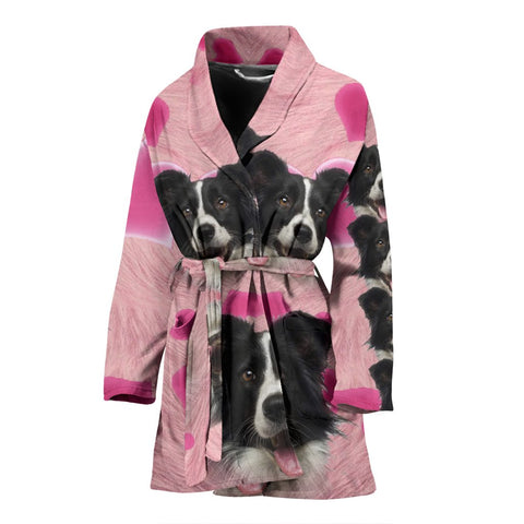 Border Collie Print Women's Bath Robe-Free Shipping