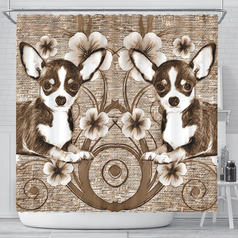 Cute Chihuahua Dog Print Shower Curtain-Free Shipping