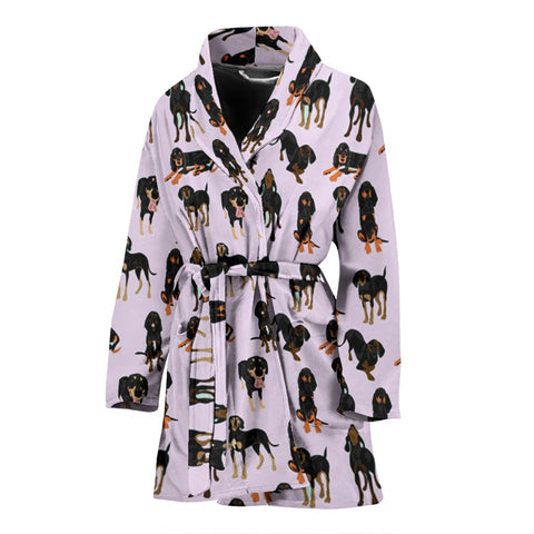 Black And Tan Coonhound Dog In Lots Print Women's Bath Robe-Free Shipping
