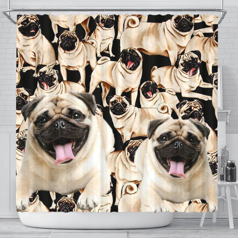 Laughing Pug Print Shower Curtain-Free Shipping