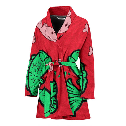 Fish Print On Red Women's Bath Robe-Free Shipping