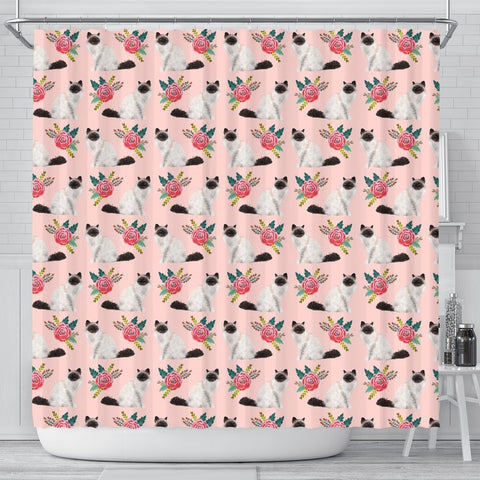 Birman Cat Floral Print Shower Curtains-Free Shipping