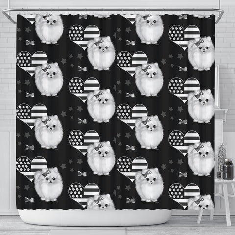Pomeranian Dog Patterns Print Shower Curtain-Free Shipping
