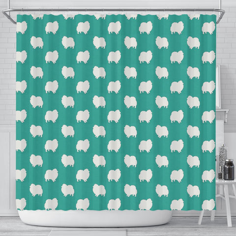 Pomeranian Dog Pattern Print Shower Curtains-Free Shipping
