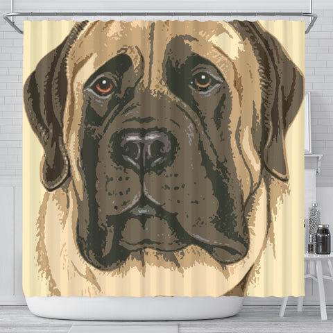 English Mastiff Dog Print Shower Curtain-Free Shipping