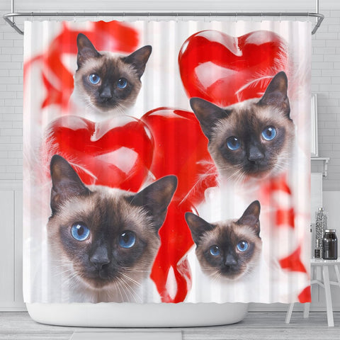 Siamese Cat On Red Print Shower Curtains-Free Shipping