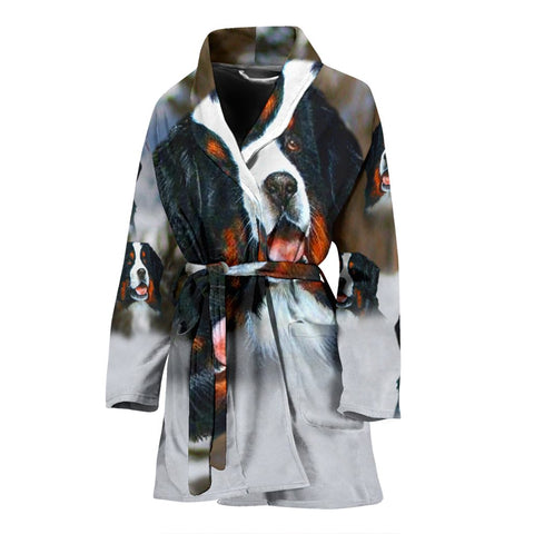 Bernese Mountain Dog Art Print Women's Bath Robe-Free Shipping