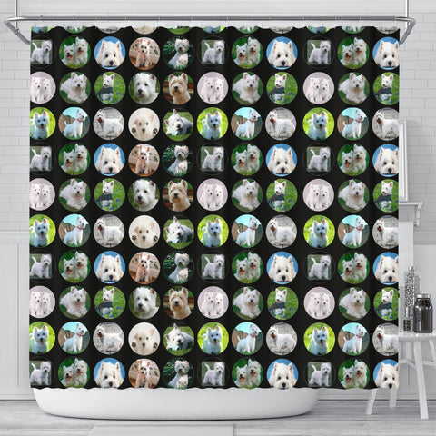 West Highland White Terrier In Lots Print Shower Curtain-Free Shipping