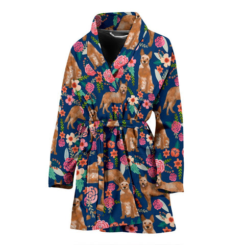 Australian Cattle Dog Floral Print Women's Bath Robe-Free Shipping