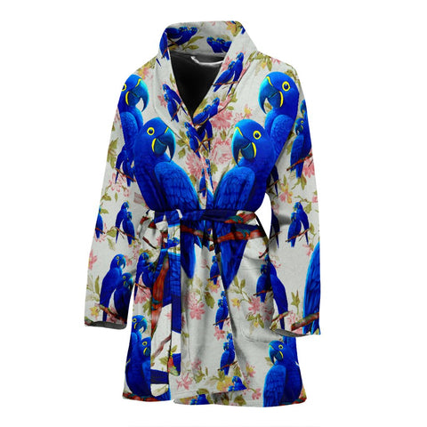 Hyacinth Macaw Parrot Floral Print Women's Bath Robe-Free Shipping