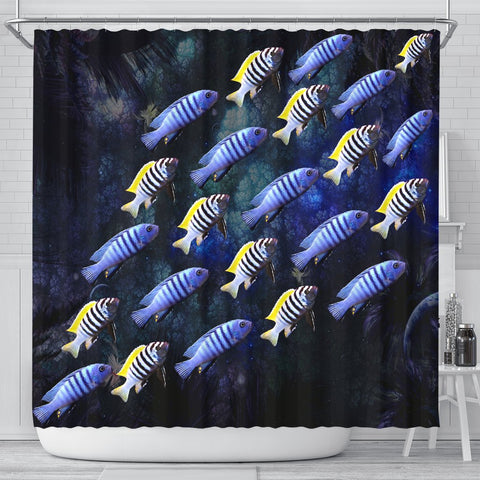 Cynotilapia Afra Fish Print Shower Curtains-Free Shipping