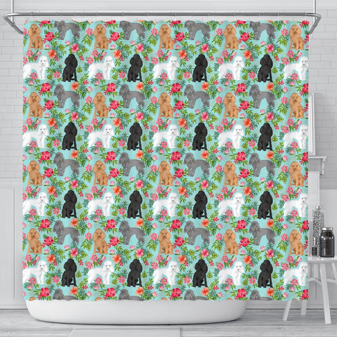 Poodle Dog Floral Print Shower Curtains-Free Shipping