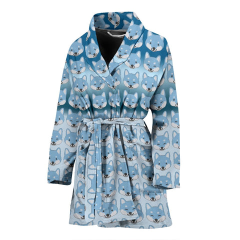 Shiba Inu Patterns Print Women's Bath Robe-Free Shipping