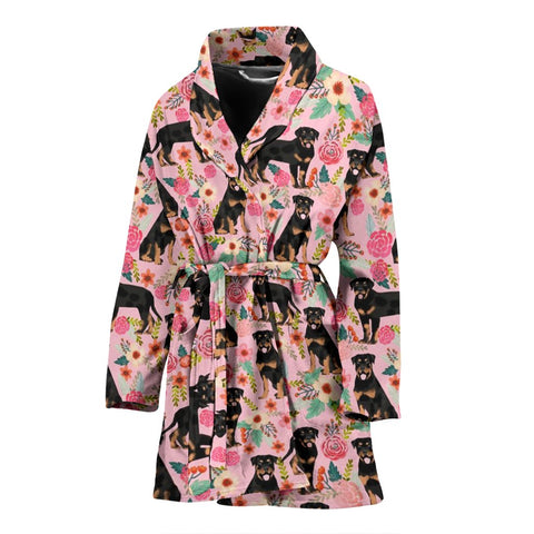 Rottweiler Dog Pink Floral Print Women's Bath Robe-Free Shipping