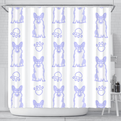 Pembroke Welsh Corgi Dog Print Shower Curtain-Free Shipping