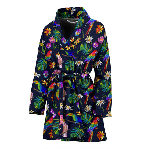 Lovely Parrots With Flower Print Women's Bath Robe-Free Shipping