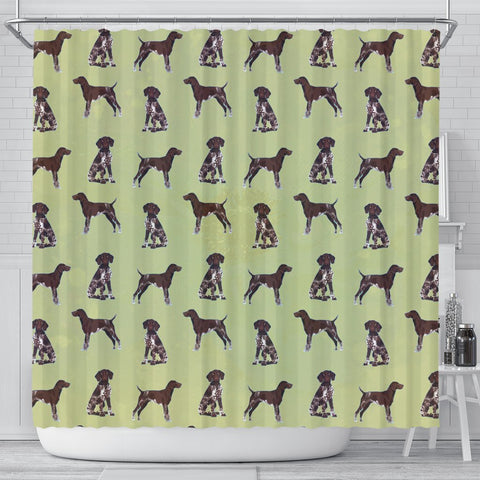 German Shorthaired Pointer Dog Pattern Print Shower Curtains-Free Shipping
