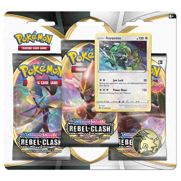 Pokémon TCG: Sword & Shield-Rebel Clash 3 Booster Packs, Coin & Rayquaza Promo Card
