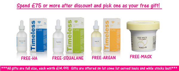 Check out our Holidays Sale with 15% OFF ALL + full size free gifts worth £14.99. Only available at www.timeless-uk.com!