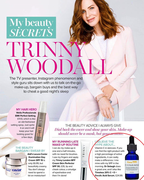 Timeless Vitamin C+E Ferulic acid serum is one of Trinny's skincare secrets! Make it yours today and order it from Timeless UK at  www.timeless-uk.com!