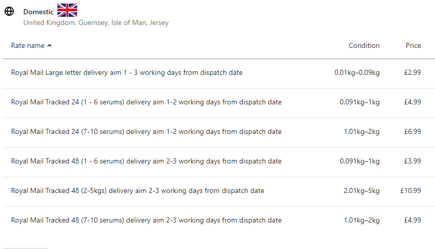 Our UK shipping rates