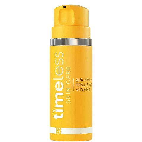 Timeless Skin Care 20% Vitamin C+E Ferulic Acid serum refill n new airless pump bottle is now available at www.timeless-uk.com