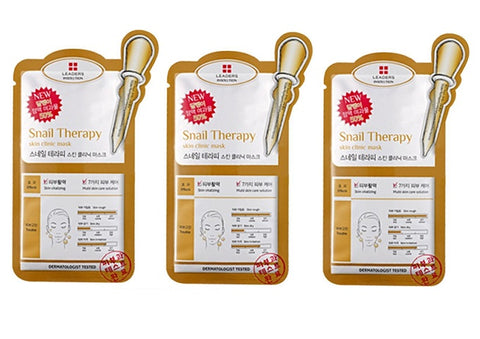 <  NEW ARRIVAL > 3 x Leaders Insolution Snail Therapy Skin Clinic Mask - 25ml