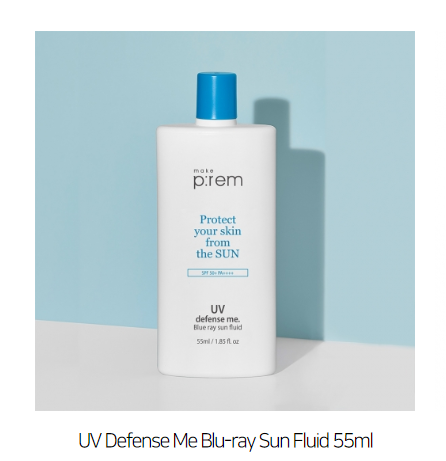 < New Arrival > Make P:rem UV Defense Me. Blue Ray Sun Fluid SPF50+ PA++++ Mini 55ml (Physical UVA&UVB) - Now available on our sister website  www.barefection.com