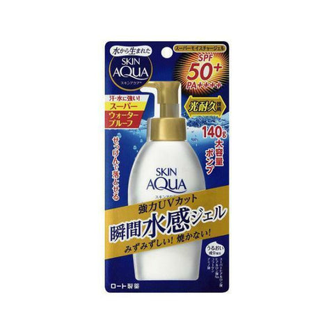 Rohto Skin Aqua Super Moisture Essence SPF 50+ PA++++ - in Pump version Now available at Timeless UK. Visit us at www.timeless-uk.com for product details and our latest offers!