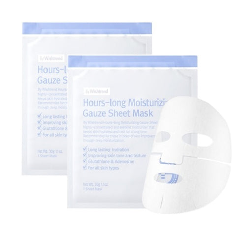 2 x Hours-long Moisturizing Gauze Sheet Mask by Wishtrend - 30g each