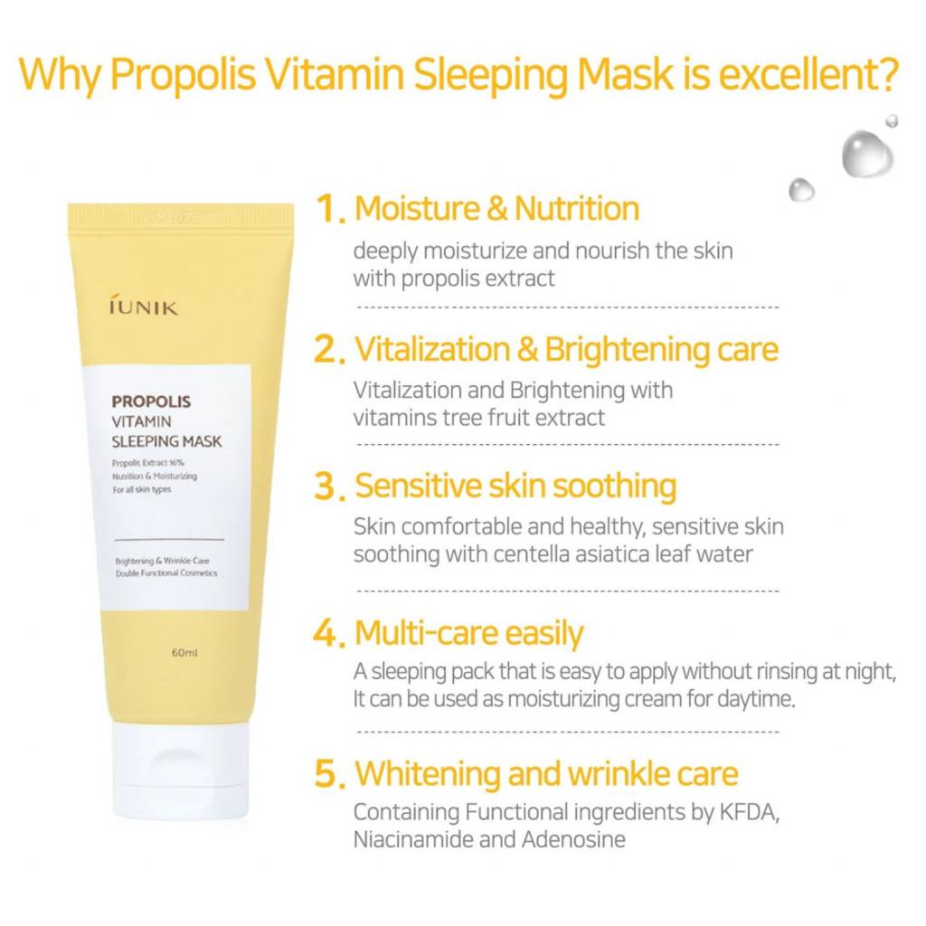 iUNIK - Propolis Vitamin Sleeping Mask -  60ml - Now available on our sister website www.Barefection.com