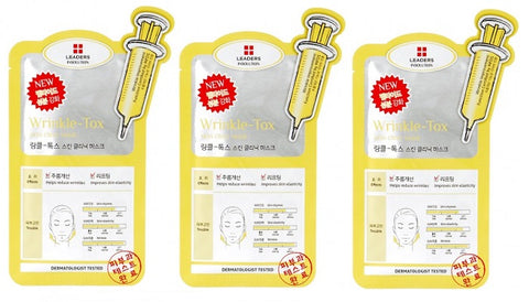 <  NEW ARRIVAL > 3 x Leaders Wrinkle Tox Skin Clinic Mask - 25ml