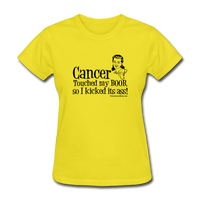 Cancer Touched My Boob Women's T-Shirt [product type] - Funny Cancer T Shirts and Chemo Gifts