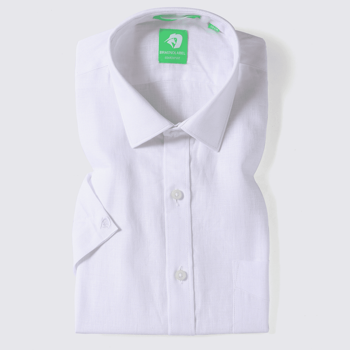 White Linen Solid Shirt (Half Sleeves)