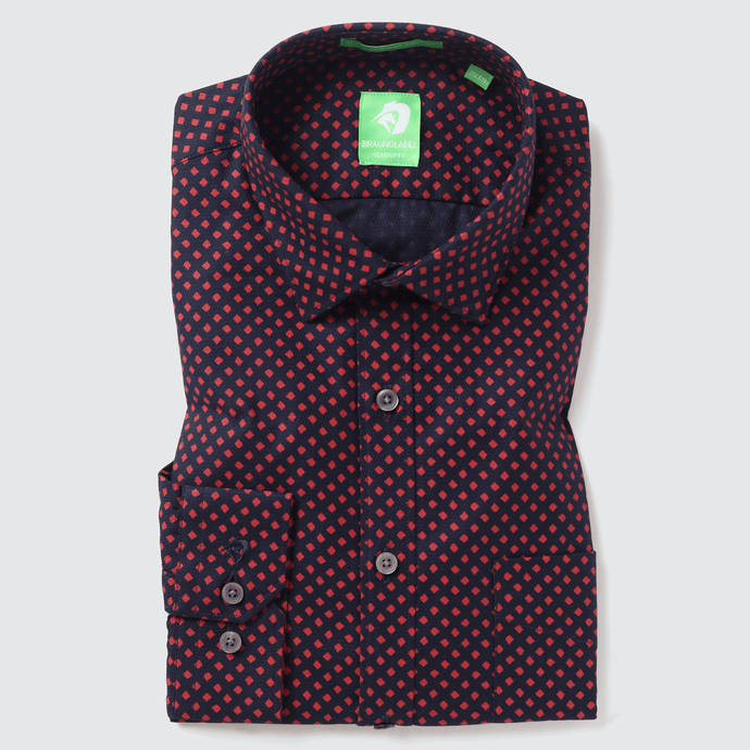 Navy & Red Diamond Printed Shirt