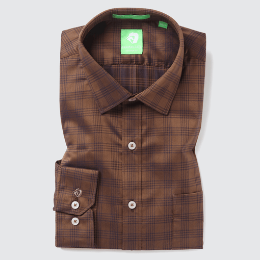 Brown Festive Check Shirt