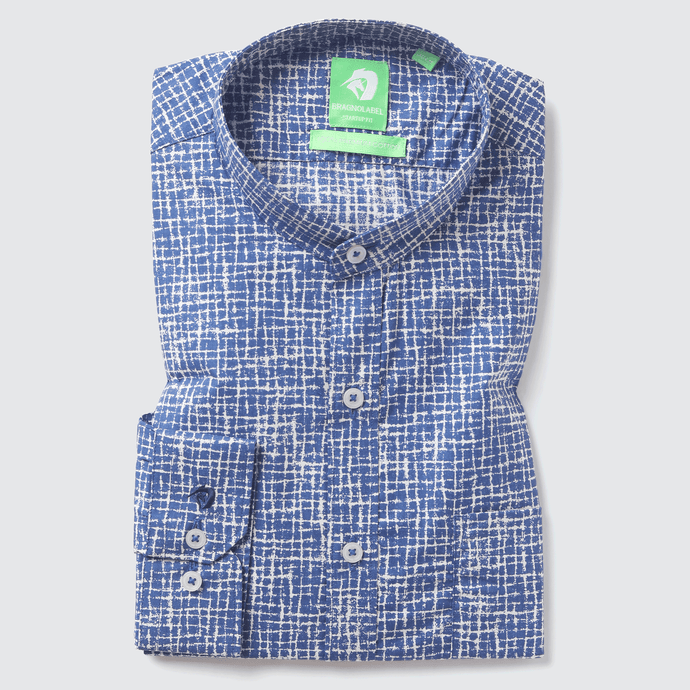 Mid Blue Asymmetric Printed Shirt (Mandarin Collar)