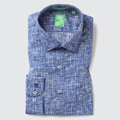 Mid Blue Asymmetric Printed Shirt