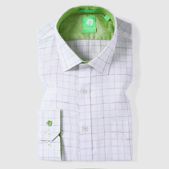 Green Linen Fashion Check Shirt