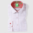Red Linen Fashion Check Shirt