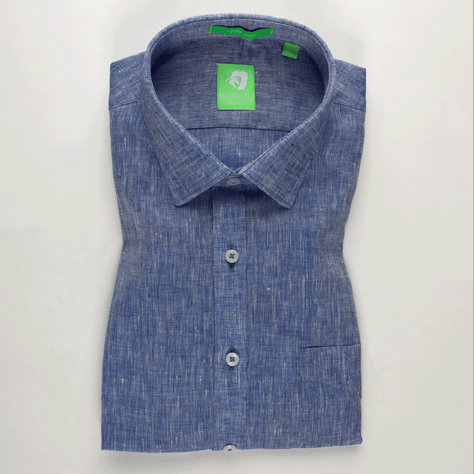 Mid Blue Linen Solid Shirt (Half Sleeves)