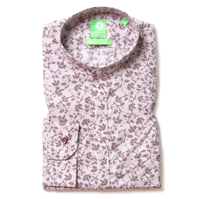 Light Pink Floral Printed Shirt (Mandarin Collar)