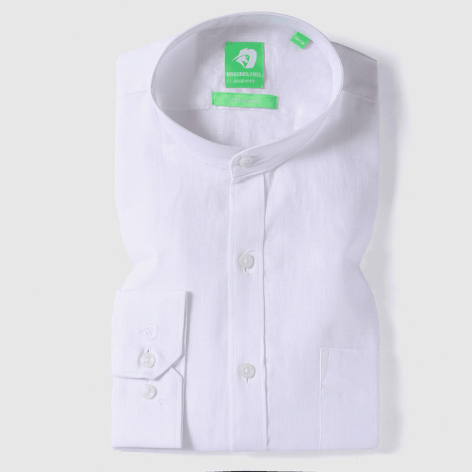 White Linen Solid Shirt (Mandarin Collar)