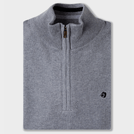 Mid Grey Melange Mock Neck Half Zipper Pullover
